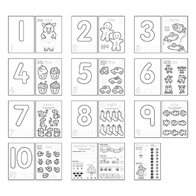 Carte de colorat cu activitati Invata numerele / NUMBER [4]