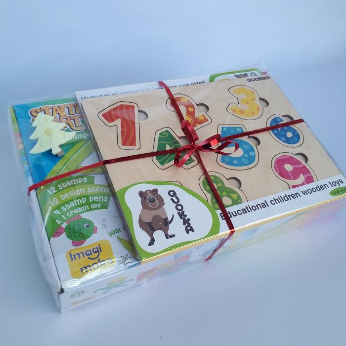 Cadou 3-5 ANI - Set Creativ cu stampile + 2 Puzzle lemn [2]