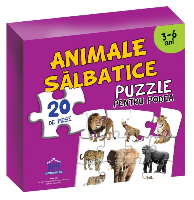 Puzzle educativ cu afis ANIMALE SALBATICE - Editura DPH [0]