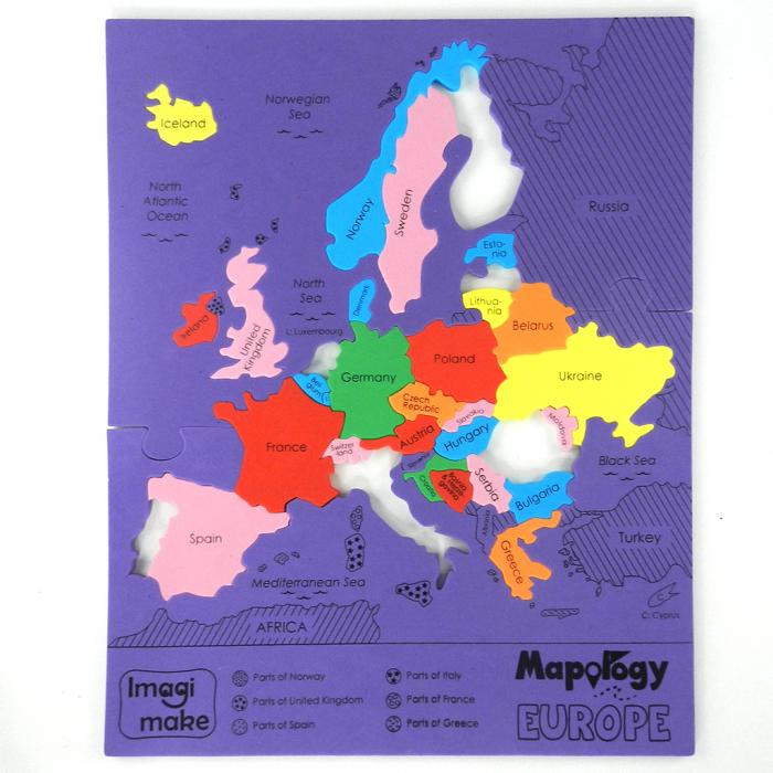 Pachet Puzzle educativ din spuma: Harta Lumii + Harta Europei - Imagimake [7]