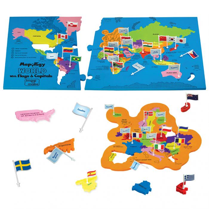 Puzzle educativ din spuma EVA - Harta lumii - steaguri si capitale - Imagimake [1]