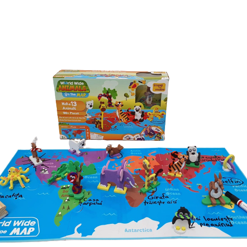 Puzzle educativ Harta lumii - Animale - din spuma Eva [1]