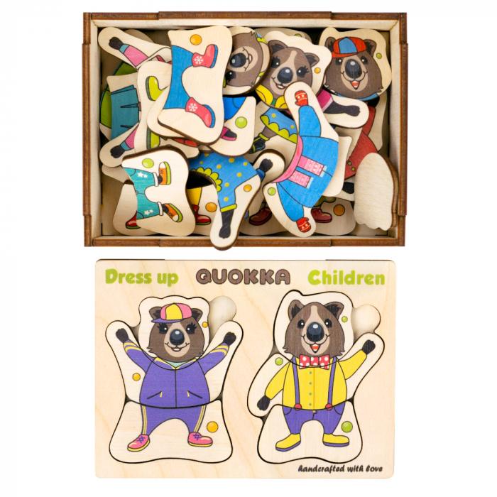 Cadou 3-5 ANI - Puzzle lemn Puii de ursuleti  + Sticker fereastra [2]