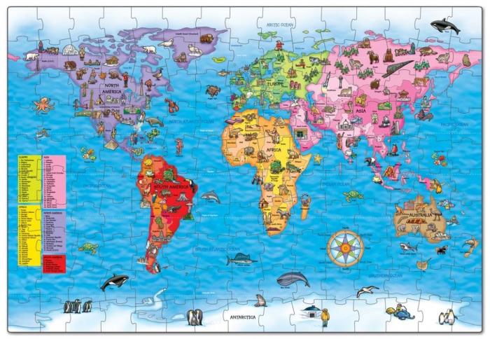 Puzzle si poster Harta lumii (limba engleza 150 piese) WORLD MAP PUZZLE & POSTER [1]