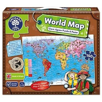 Puzzle si poster Harta lumii (limba engleza 150 piese) WORLD MAP PUZZLE & POSTER [3]