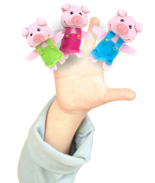 Set Papusa si marionete Cei 3 purcelusi / Big Bad Wolf and the Three Little Pigs - Fiesta Crafts [2]