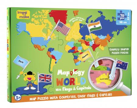 Cadou 5-7 ANI - Puzzle Harta lumii cu steaguri si capitale + Set Cuburi Rubik Fructe [4]