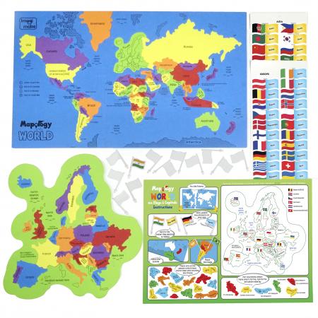 Cadou 8-14 ANI - Puzzle Harta lumii cu steaguri si capitale + Puzzle 3D Case [3]