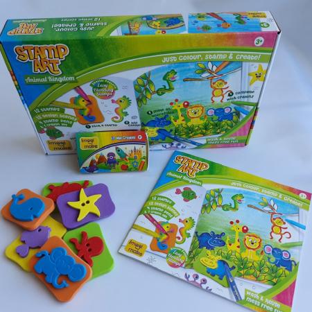 Cadou 3-5 ANI - Set Creativ cu stampile + 2 Puzzle lemn [3]