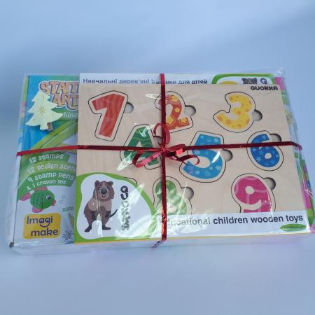 Cadou 3-5 ANI - Set Creativ cu stampile + 2 Puzzle lemn [1]