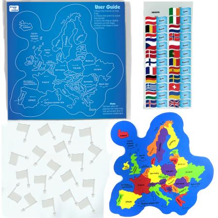 Puzzle educativ din spuma EVA - Harta Europei - steaguri si capitale [1]