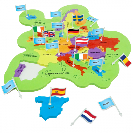 Puzzle educativ din spuma EVA - Harta Europei - steaguri si capitale [2]