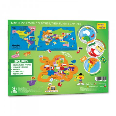 Puzzle educativ din spuma EVA - Harta lumii - steaguri si capitale - Imagimake [3]