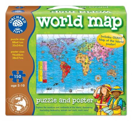 Puzzle si poster Harta lumii (limba engleza 150 piese) WORLD MAP PUZZLE & POSTER [0]