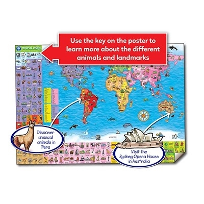 Puzzle si poster Harta lumii (limba engleza 150 piese) WORLD MAP PUZZLE & POSTER [6]