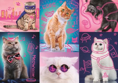 Puzzle Trefl 1000 super pisici neon [1]