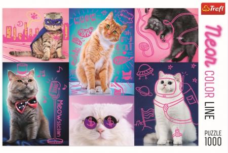 Puzzle Trefl 1000 super pisici neon [2]