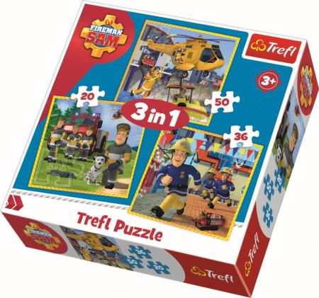 Puzzle Trefl 3in1 Pompierul Sam [0]
