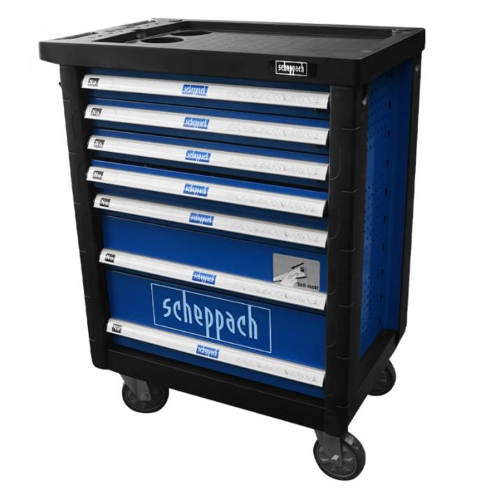 Carucior portabil cu scule TW1000 Scheppach SCH5909304900, 7 sertare, 263 piese 19