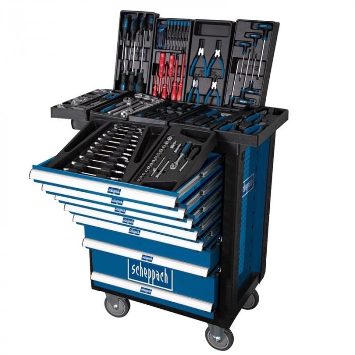 Carucior portabil cu scule TW1000 Scheppach SCH5909304900, 7 sertare, 263 piese 2