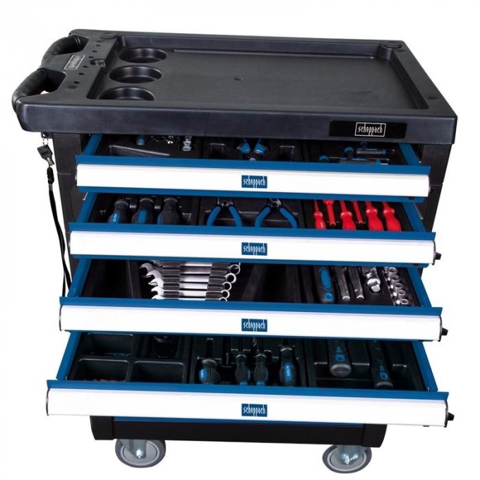 Carucior portabil cu scule TW1000 Scheppach SCH5909304900, 7 sertare, 263 piese 1