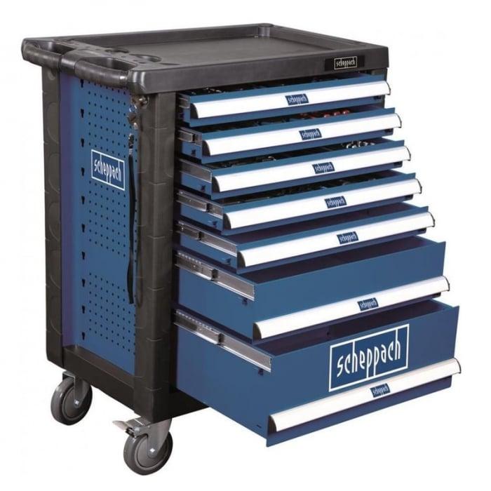 Carucior portabil cu scule TW1000 Scheppach SCH5909304900, 7 sertare, 263 piese 0