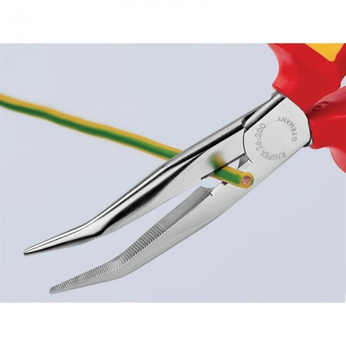 Cleste profesional izolat cu varf lung indoit si suprafata taietoare Knipex KNI2626200, 200 mm [6]
