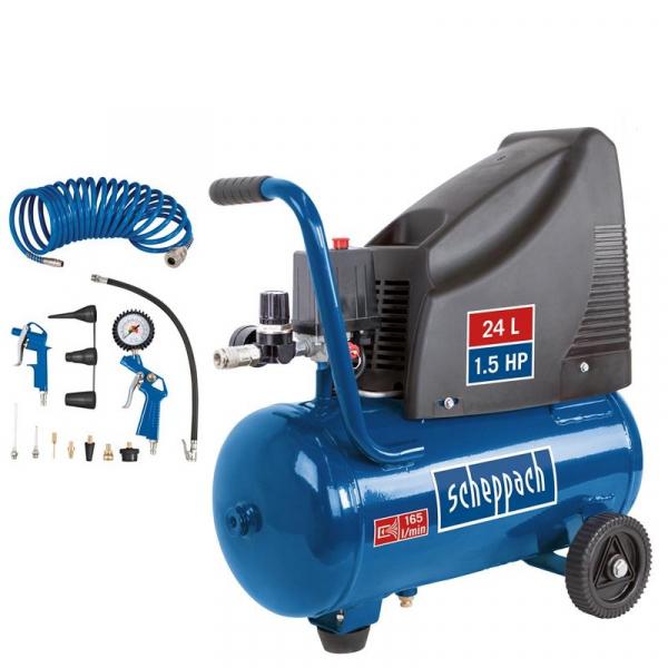 Compresor HC25o Scheppach SCH5906112904, 1100 W, 24 l, 8 bari( 510814)
