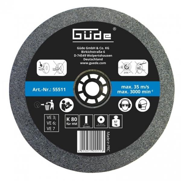 Disc abraziv pentru polizor de banc Guede GUDE55511, O150x20x32 mm, granulatie K80 poza casaidea 2021