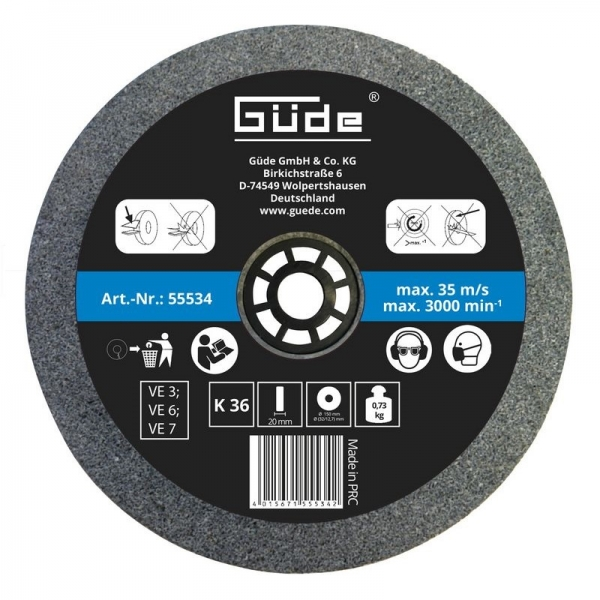 Disc abraziv pentru polizor de banc Guede GUDE55534, O150x20x32 mm, granulatie K36 poza casaidea 2021