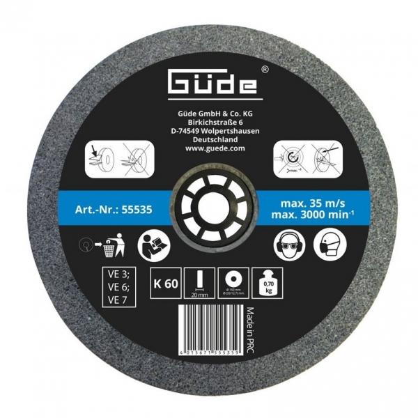 Disc abraziv pentru polizor de banc Guede GUDE55535, O150x20x32 mm, granulatie K60 casaidea.ro