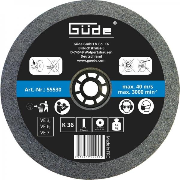 Disc abraziv pentru polizor de banc Guede GUDE55530, O175x25x32 mm, granulatie K36 casaidea.ro