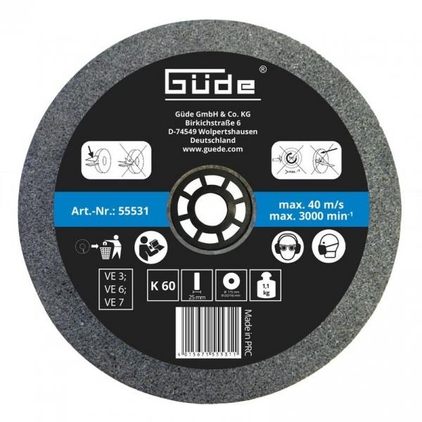Disc abraziv pentru polizor de banc Guede GUDE55531, O175x25x32 mm, granulatie K60 imagine 2021 casaidea.ro