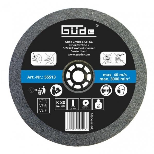 Disc abraziv pentru polizor de banc Guede GUDE55513, O200x25x32 mm, granulatie K80 casaidea.ro