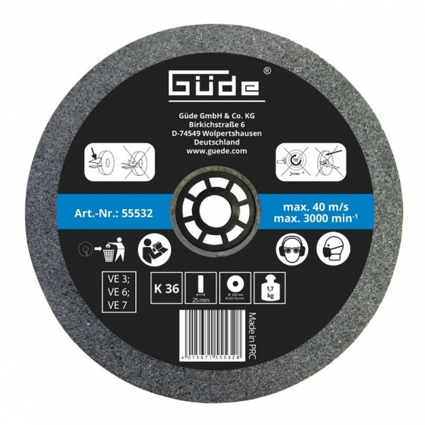 Disc abraziv pentru polizor de banc Guede GUDE55532, O200x25x32 mm, granulatie K36 casaidea.ro