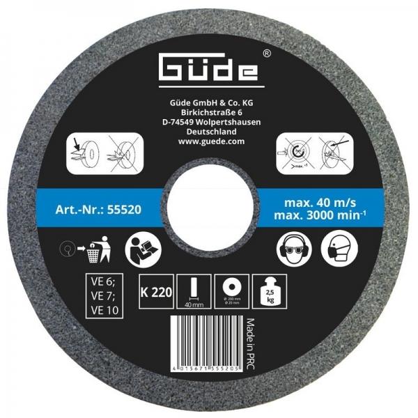 Disc abraziv pentru polizor de banc Guede Gude55520 O 200x40x20 mm granulatie K220