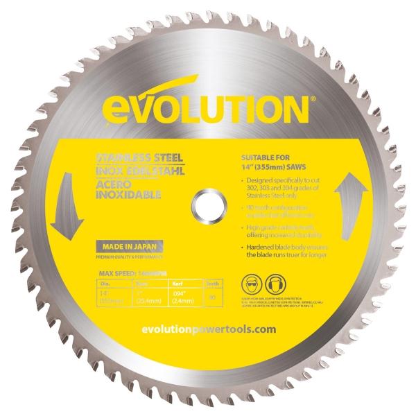 Disc pentru fierastrau circular, taiere inox Evolution EVO90BLADE-0521, O355 x 25.4 mm, 90 dinti casaidea.ro