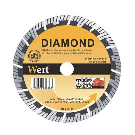 Disc diamantat turbo, taiere beton, zidarie, piatra Wert W2713-115, O115x22.2 mm casaidea.ro