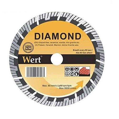 Disc diamantat segmentat turbo pentru fierastrau circular, taiere beton, zidarie, piatra Wert W2713-125, Ø125x22.2 mm 0