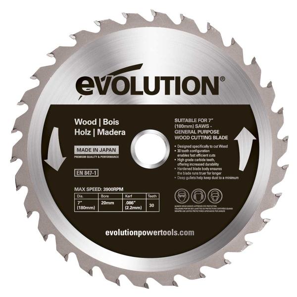 Disc pentru fierastrau circular, taiere lemn Evolution EVO180WD-0446, O180x20 mm, 30 dinti casaidea.ro