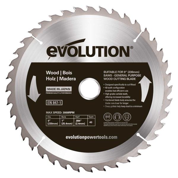 Disc pentru fierastrau circular taiere lemn Evolution EVOEVOBLADE230WD 0484 O230 x 25.4 mm 40 dinti