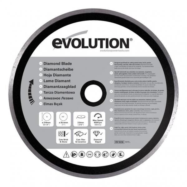 Disc pentru fierastrau circular, taiere marmura, piatra Evolution EVORAGEBLADE210D, O210x25.4 mm casaidea.ro