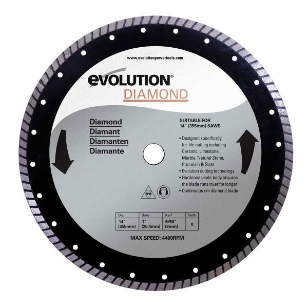 Disc pentru fierastrau circular, taiere marmura, piatra Evolution EVORAGEBLADE355D, O355x25.4 mm casaidea.ro