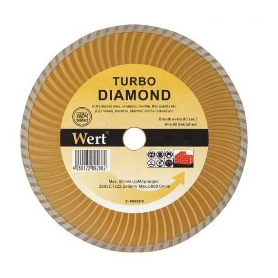 Disc diamantat turbo, taiere beton, ceramica, caramida Wert W2712-180, Ø180x22.2 mm 0