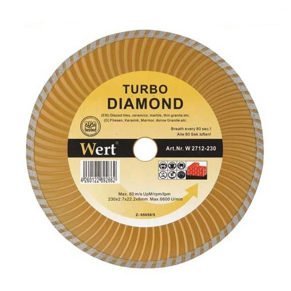 Disc diamantat turbo, taiere beton, ceramica, caramida Wert Ø230x22.2 mm 0