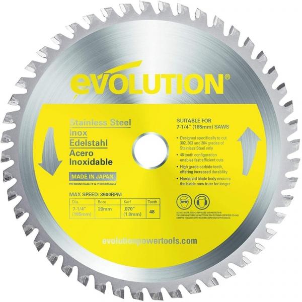 Disc pentru fierastrau circular, taiere inox Evolution EVOS185TCT-48CS-7171, O185 x 25.4 mm, 48 dinti casaidea.ro