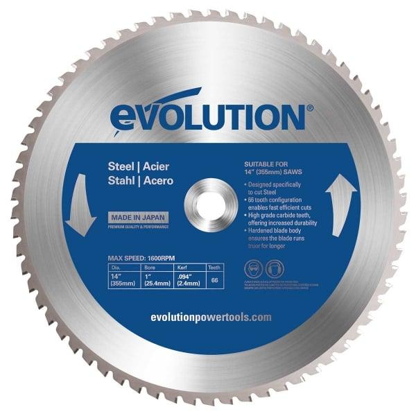 Disc pentru fierastrau circular, taiere otel Evolution EVO66TBLADE-0507, O355 x 25.4 mm, 66 dinti casaidea.ro