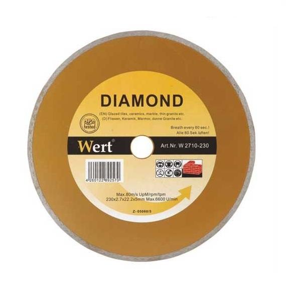 Disc diamantat, taiere beton, ceramica, caramida Wert O230x22.2 mm casaidea.ro