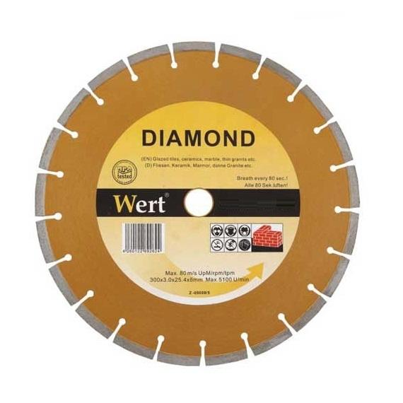 Disc diamantat, taiere marmura, granit, faianta Wert W2711-300, O300x22.2 mm casaidea.ro