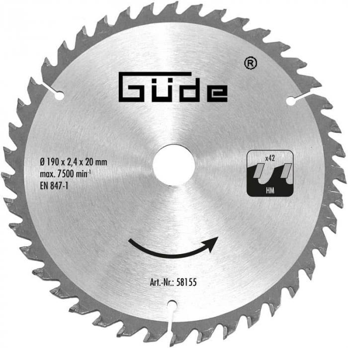 Disc pentru fierastrau circular, taiere lemn Guede GUDE58155, O190x20 mm, 42 dinti poza casaidea 2021